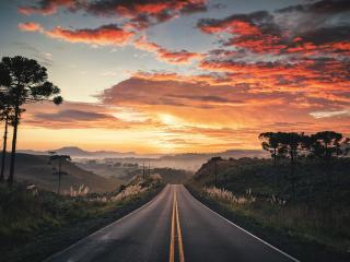 HD Road View with Sunset wallpaper