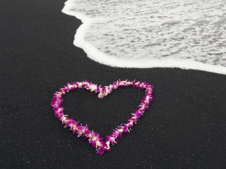 Heart Shape Flowers On Beach Sand Valentines Idea wallpaper