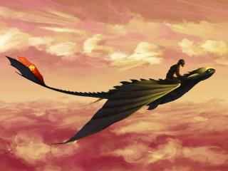 Hiccup and Toothless Flying wallpaper