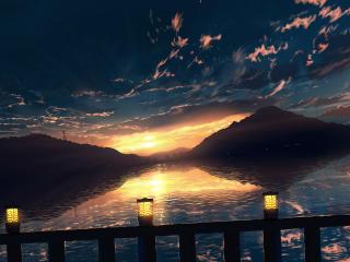 Hill Horizon Sunset wallpaper