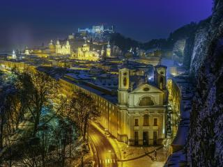 Hohensalzburg Church  at Night wallpaper
