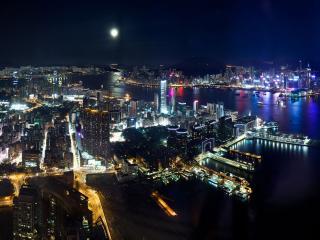 hong kong, night, lights wallpaper