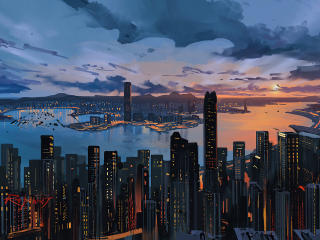 Hong Kong Skyscraper Cool Art wallpaper