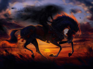 Horse Sunset Painting Artwork wallpaper