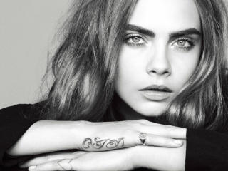 Hottie Cara Delevingne Black and White wallpaper