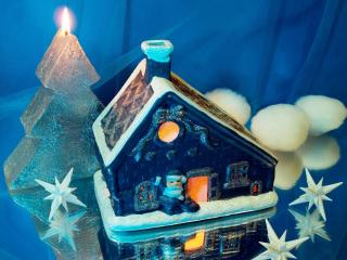 HD Wallpaper | Background Image house, candle, santa claus