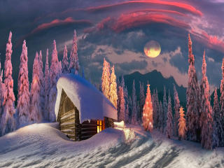 House in Winter Amazing Digital Art wallpaper