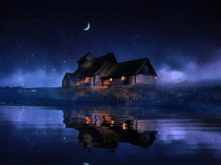 House Reflected in the Lake wallpaper