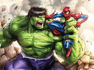 Hulk Vs Spiderman Art wallpaper