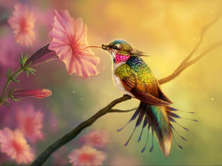 Hummingbird Fantasy Abstract Fractal wallpaper