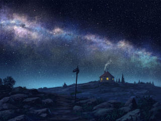 Hut House and Starry Night wallpaper