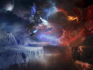 Ice Vs Fire Dragon Fight wallpaper