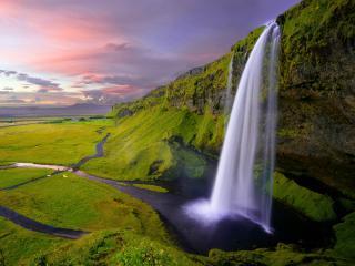 Idyllic landscape with a waterfall wallpaper