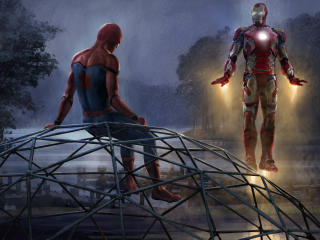 Iron Man And Spiderman Artwork wallpaper