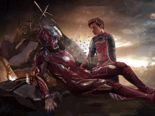 Iron Man and Spiderman Last Scene Art wallpaper
