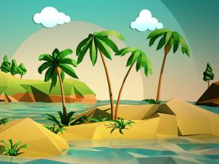 Island Beach Vector Art wallpaper