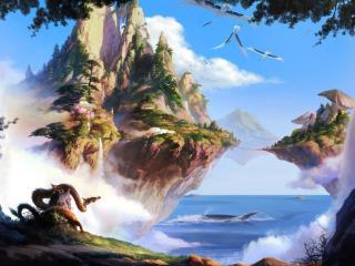 island, sea, sky wallpaper