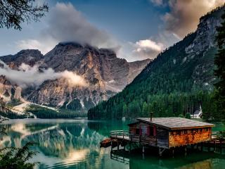 italy, mountain, lake wallpaper