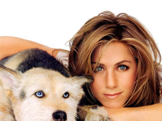 Jennifer Aniston with Dog wallpapers wallpaper