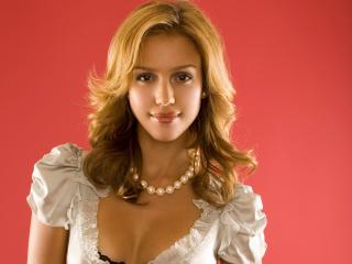 Jessica Alba Cute White Party Wear wallpaper