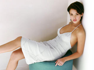 Jessica Alba Low neck Sexy Dress wallpapers wallpaper
