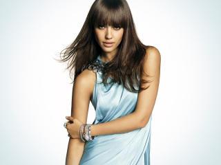 Jessica Alba Sky Blue Dress Images wallpaper