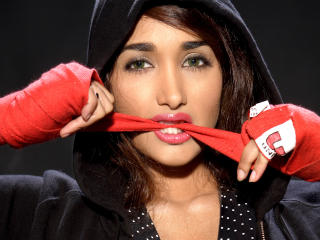 Jiah Khan In Boxing Gloves  wallpaper