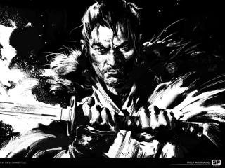 Jin Sakai Monochrome Ghost of Tsushima wallpaper