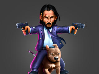 John Wick as Keanu Reeves and Dog wallpaper