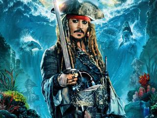 Johnny Depp as Jack Sparrow In Pirates Of The Caribbean Dead Men Tell No Tales wallpaper