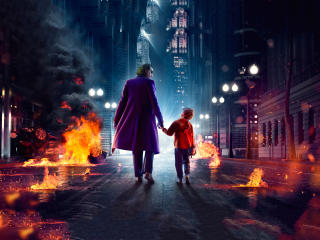 Joker Walking and Kid wallpaper