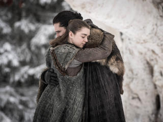 Jon Snow Meets Arya Stark  in GOT Season 8 wallpaper