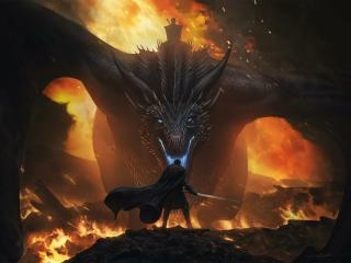Jon Snow Vs Night King Dragon wallpaper