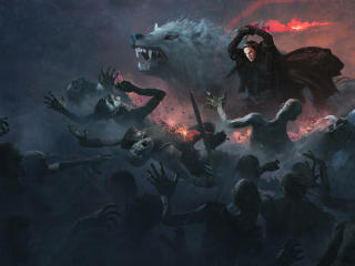 Jon Snow With Wolf Attacking White Walkers Artwork wallpaper