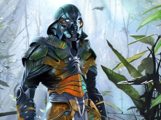 jungle, robot, mask wallpaper