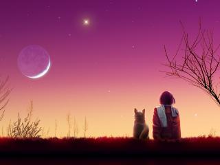 kagaya moon, anime, girl wallpaper