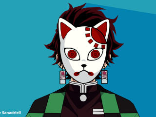 Kamado Tanjirou Warding Mask wallpaper