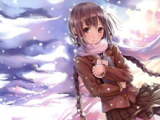 kazuharu kina, snow, girl wallpaper
