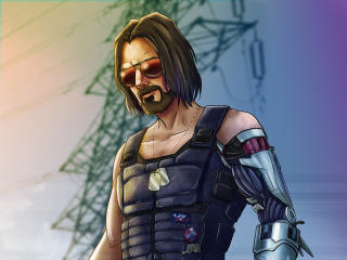 Keanu Reeves as Johnny Silverhand Cyberpunk 2077 Art wallpaper