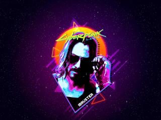 Keanu Reeves Cyberpunk 2077 Retro Art wallpaper
