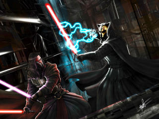 Knights of the Old Republic Darth vs Revan wallpaper