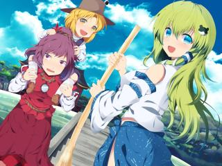 kochiya sana, girls, broom wallpaper