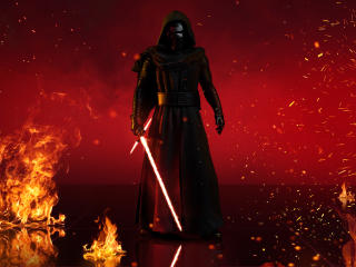 Kylo Ren With Lightsaber In Star Wars wallpaper