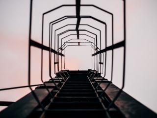 ladder, climb, sky wallpaper