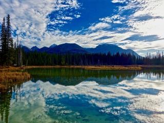 lake, mountains, clouds wallpaper