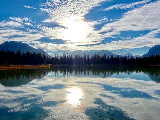 lake, mountains, sky wallpaper