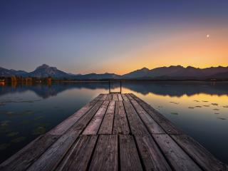 Lake Pier and Mountain Sunset wallpaper
