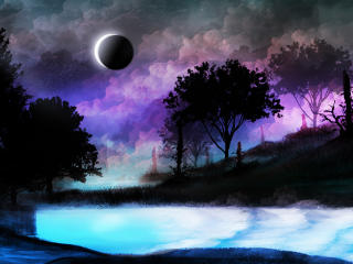 Landscape Eclipse 4k wallpaper
