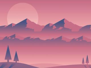 Landscape Minimal Mountains Art wallpaper