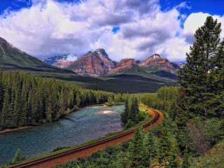 landscape, mountains, railroad wallpaper